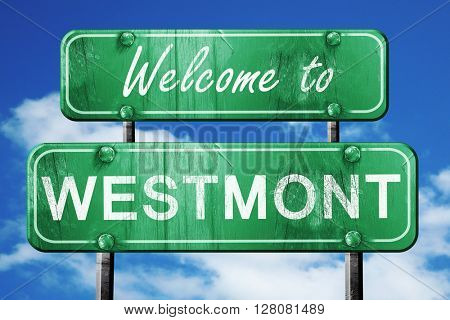 westmont vintage green road sign with blue sky background