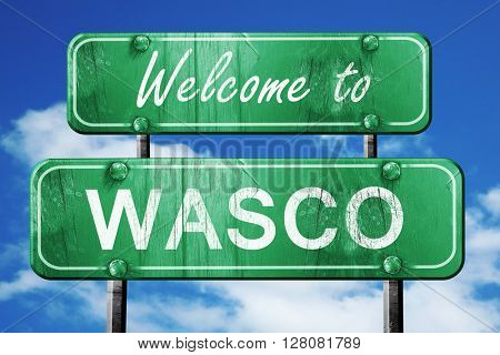 wasco vintage green road sign with blue sky background