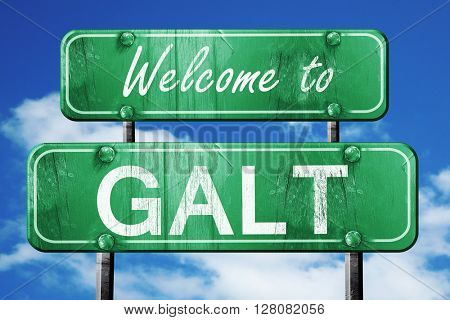 galt vintage green road sign with blue sky background