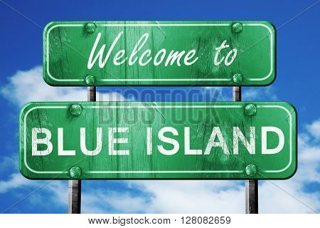 blue island vintage green road sign with blue sky background