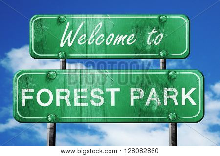 forest park vintage green road sign with blue sky background