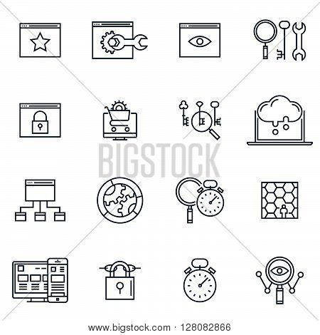 Search engine optimization icon set suitable for info graphics websites and print media. Black and white flat line icons. poster