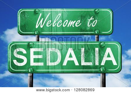 sedalia vintage green road sign with blue sky background