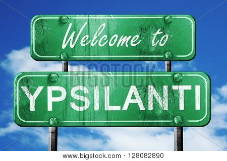 ypsilanti vintage green road sign with blue sky background