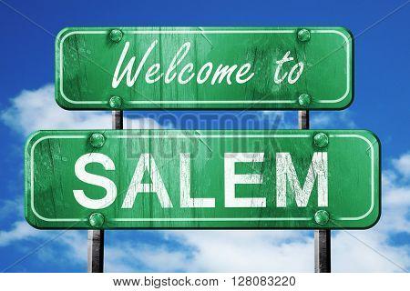 salem vintage green road sign with blue sky background