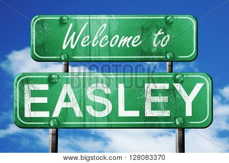 easley vintage green road sign with blue sky background
