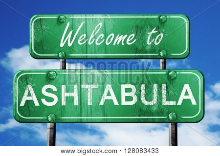 ashtabula vintage green road sign with blue sky background