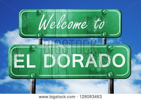 el dorado vintage green road sign with blue sky background