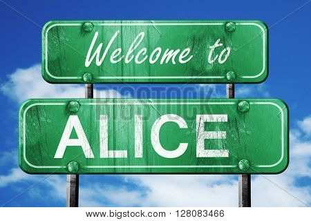 alice vintage green road sign with blue sky background