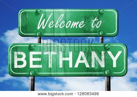 bethany vintage green road sign with blue sky background