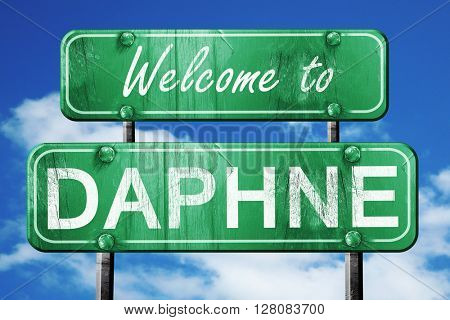 daphne vintage green road sign with blue sky background