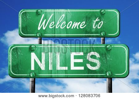 niles vintage green road sign with blue sky background