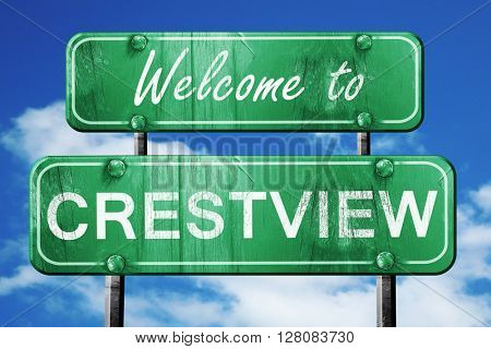 crestview vintage green road sign with blue sky background