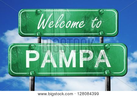 pampa vintage green road sign with blue sky background