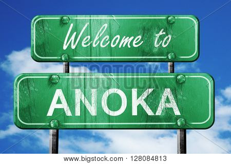 anoka vintage green road sign with blue sky background