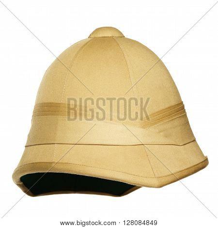 yellow safari hat isolated on white background