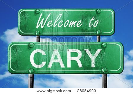 cary vintage green road sign with blue sky background