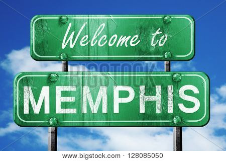 memphis vintage green road sign with blue sky background