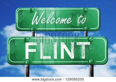 flint vintage green road sign with blue sky background