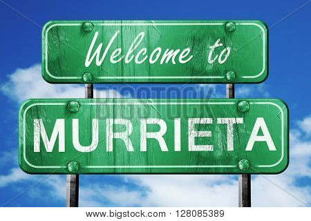 murrieta vintage green road sign with blue sky background