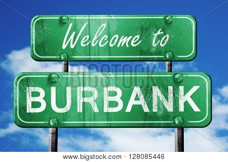 burbank vintage green road sign with blue sky background