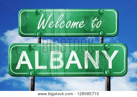 albany vintage green road sign with blue sky background