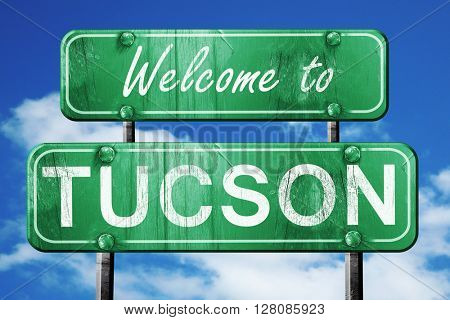 tucson vintage green road sign with blue sky background