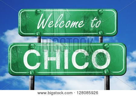 chico vintage green road sign with blue sky background
