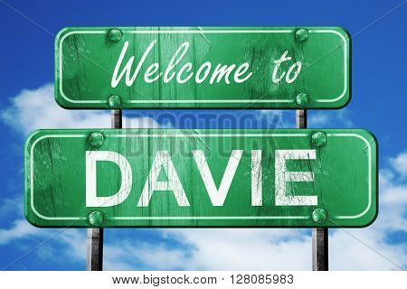 davie vintage green road sign with blue sky background