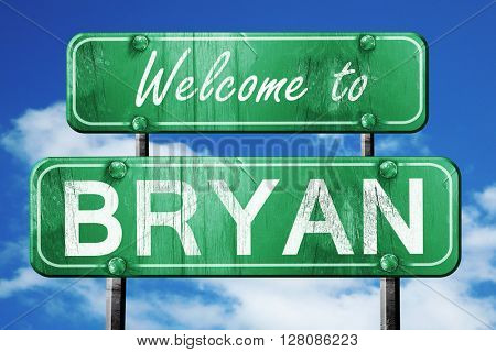 bryan vintage green road sign with blue sky background