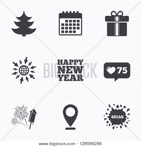 Calendar, like counter and go to web icons. Happy new year icon. Christmas tree and gift box signs. Fireworks rocket symbol. Location pointer.