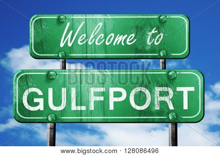 gulfport vintage green road sign with blue sky background
