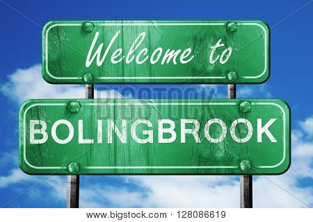 bolingbrook vintage green road sign with blue sky background