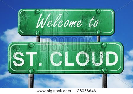 st. cloud vintage green road sign with blue sky background