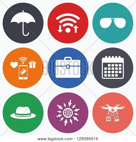 Wifi, mobile payments and drones icons. Clothing accessories icons. Umbrella and sunglasses signs. Headdress hat with business case symbols. Calendar symbol.