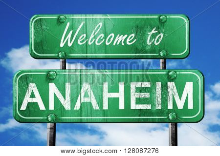 anaheim vintage green road sign with blue sky background