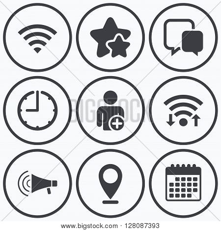 Clock, wifi and stars icons. Wifi and chat bubbles icons. Add user and megaphone loudspeaker symbols. Communication signs. Calendar symbol.