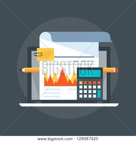 Accounting Flat Style, Colorful, Vector Icon