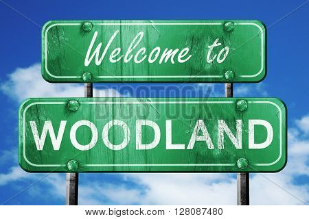 woodland vintage green road sign with blue sky background