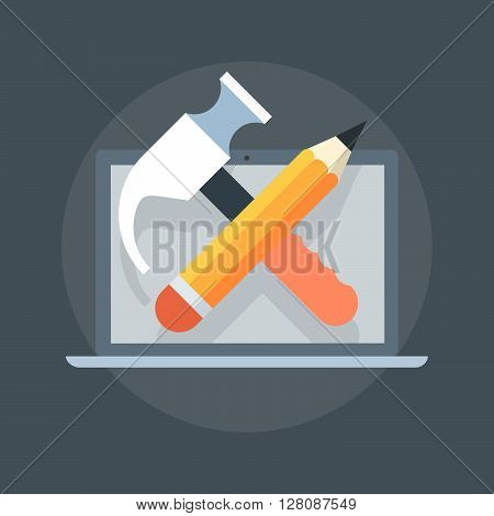 Configuration Coding Theme Flat Style, Minimal, Stylish Colorful, Vector Icon
