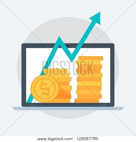 Business Growth Flat Style, Colorful, Vector Icon