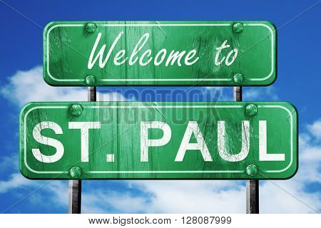 st. paul vintage green road sign with blue sky background