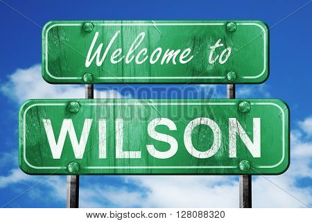 wilson vintage green road sign with blue sky background