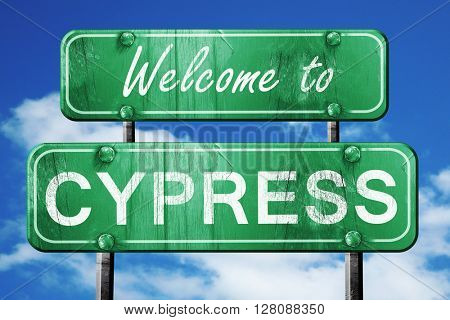 cypress vintage green road sign with blue sky background
