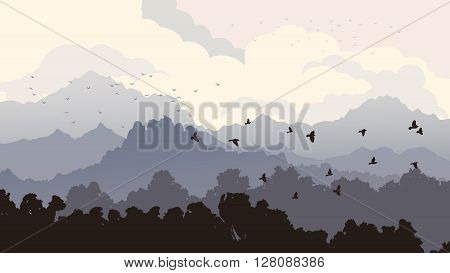 Horizontal illustration forest with mountains and cloudy sky with flock of birds.