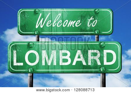 lombard vintage green road sign with blue sky background