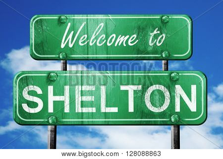 shelton vintage green road sign with blue sky background