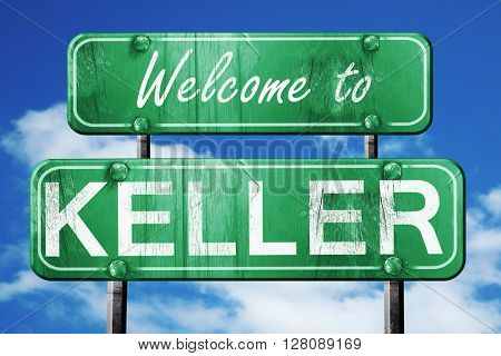 keller vintage green road sign with blue sky background