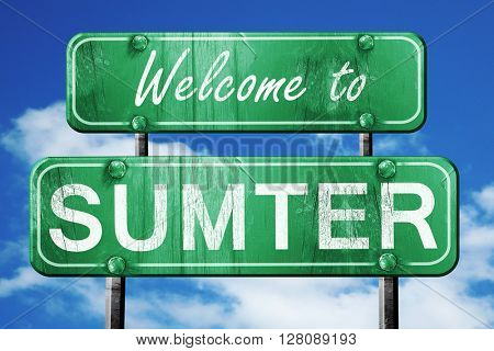 sumter vintage green road sign with blue sky background