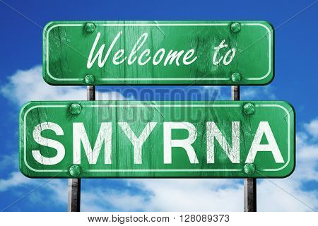 smyrna vintage green road sign with blue sky background